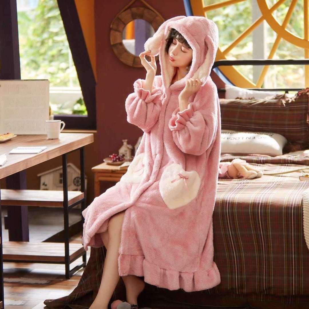 睡衣女秋冬珊瑚绒套装大码月子服睡袍加厚长款过膝女士睡衣家居服