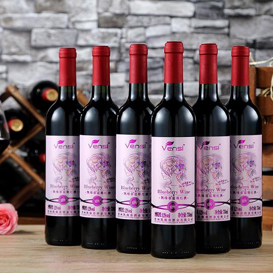 凯缘春蓝莓红酒粉标有机含花青素无勾兑半甜型送开瓶器750ml*6