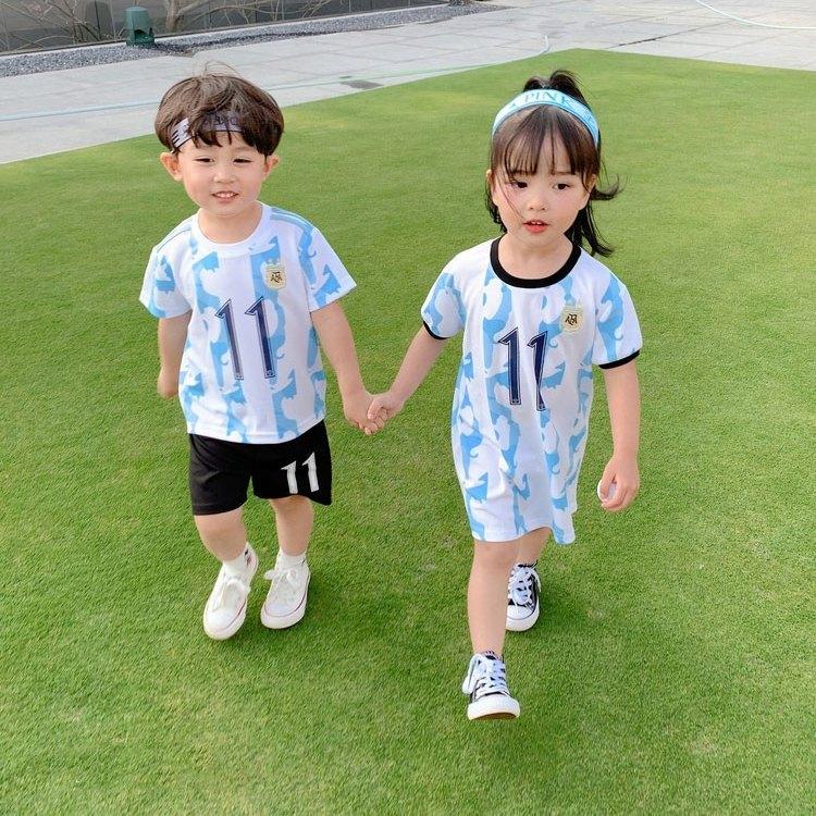男童运动套装男女童宝宝2021新款足球服兄妹装童装夏装园服表演服