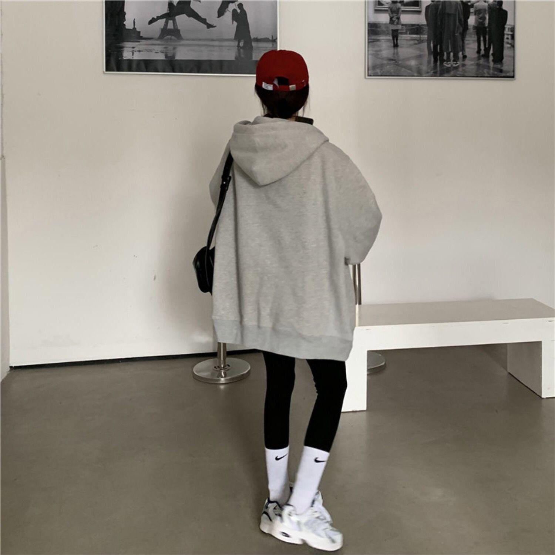 88701-纯色韩版通勤卫衣女oversize灰色连帽卫衣拉链外套女ins潮上衣-详情图