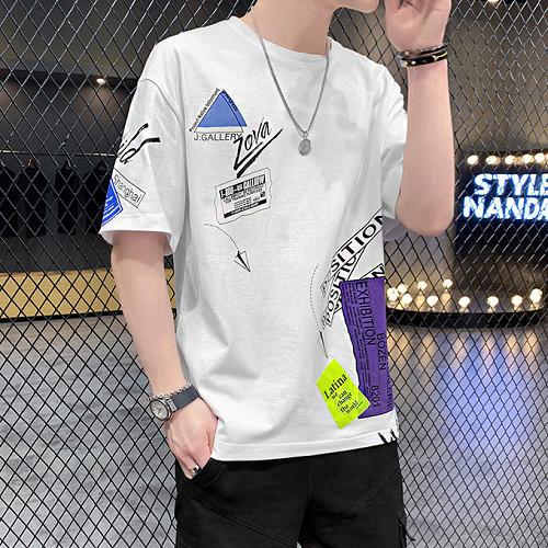 t恤短袖男2021新款夏季个性印花韩版