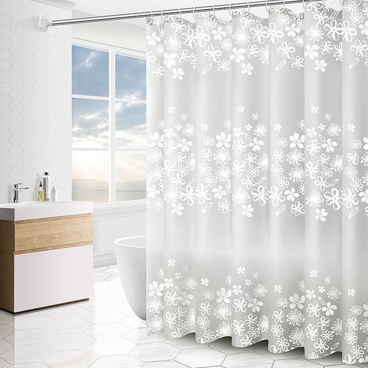 简迪浴室浴帘布防水防霉加厚卫生间隔断帘子磨砂透明窗帘送挂钩主图