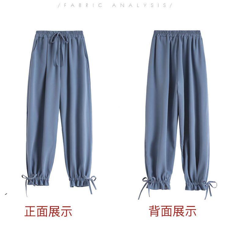 37829-裤子女宽松显示高腰九分阔腿裤韩版休闲束脚裤高腰纯色休闲裤-详情图