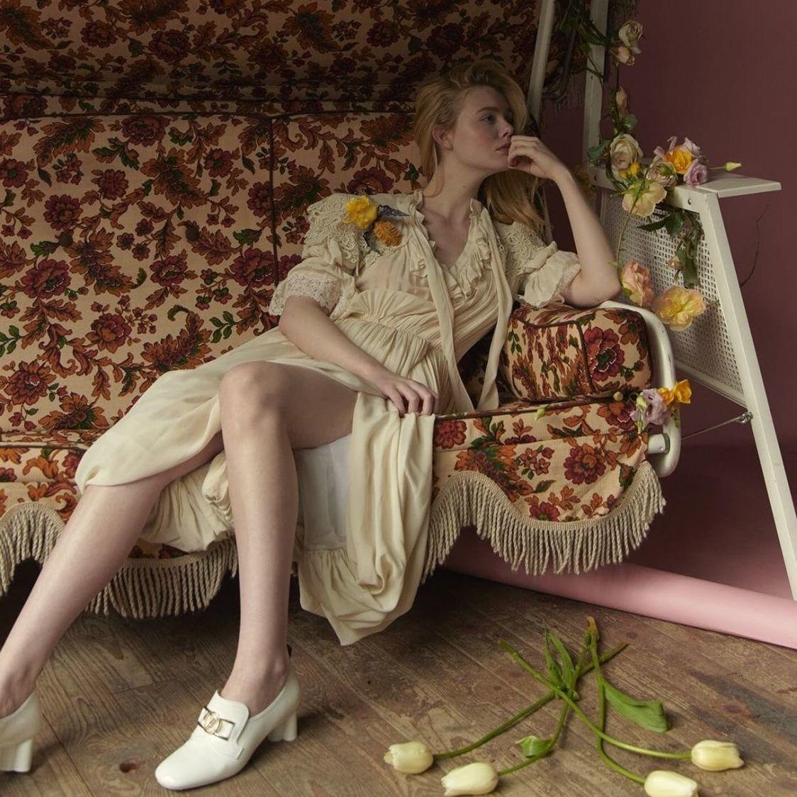 复古浪漫白色长裙