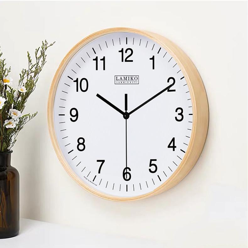 LAMIKO北欧实木挂钟简约钟表家用客厅时钟简约轻奢时钟免打孔
