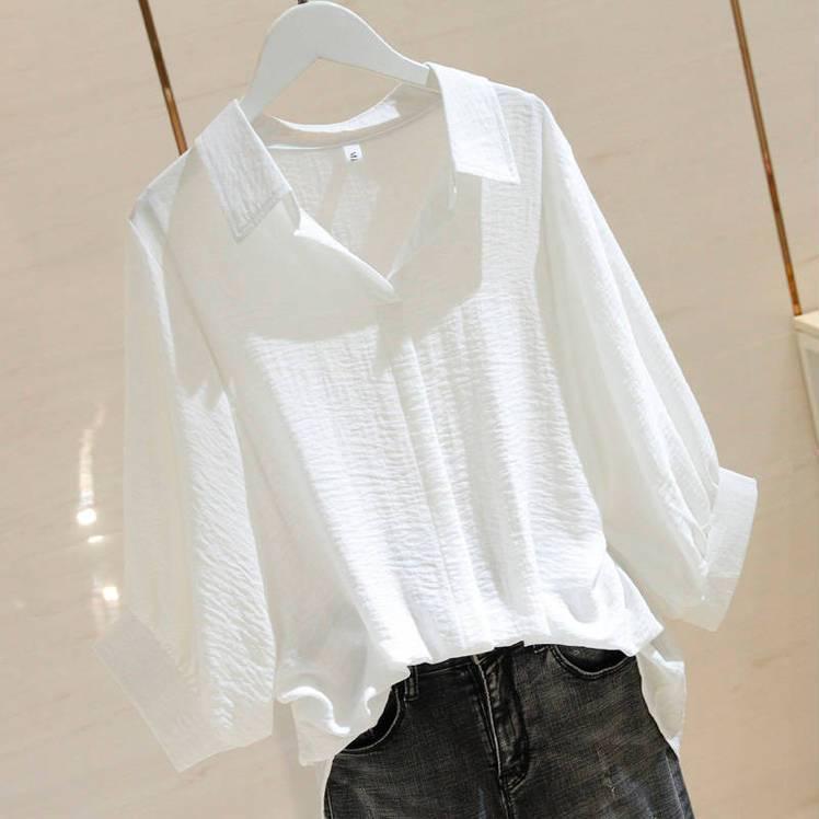 大码女装白色宽松衬衫女2020夏季新款简约套头蝙蝠袖衬衣短袖女