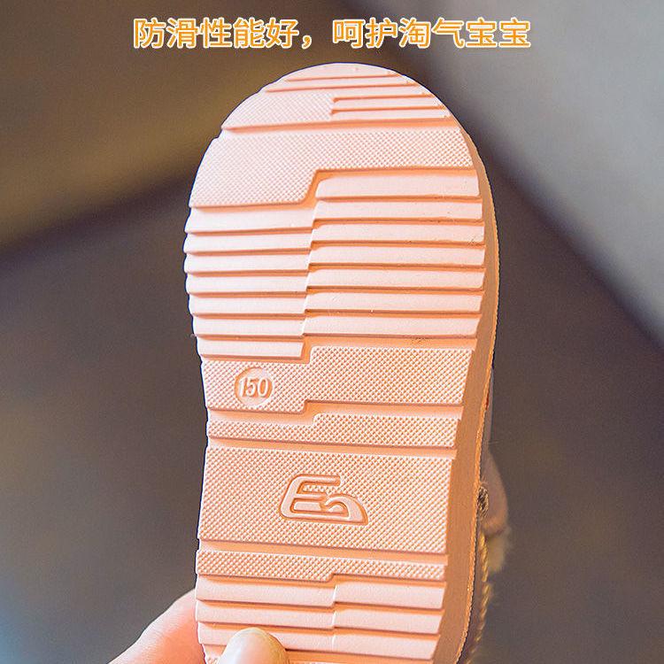 88801-巴布豆冬儿童棉靴男童女童防滑室外雪地靴宝宝中大童小童保暖棉鞋-详情图