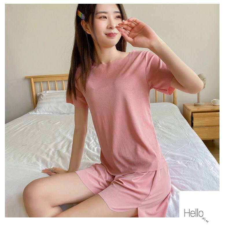 冰丝睡衣女夏季薄款短袖两件套装阔腿裤家居服长裤可外穿软软套装