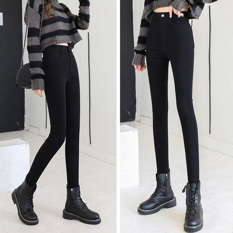 打底裤女外穿秋冬季加绒高腰显瘦黑色小脚铅笔学生紧身魔术裤百搭