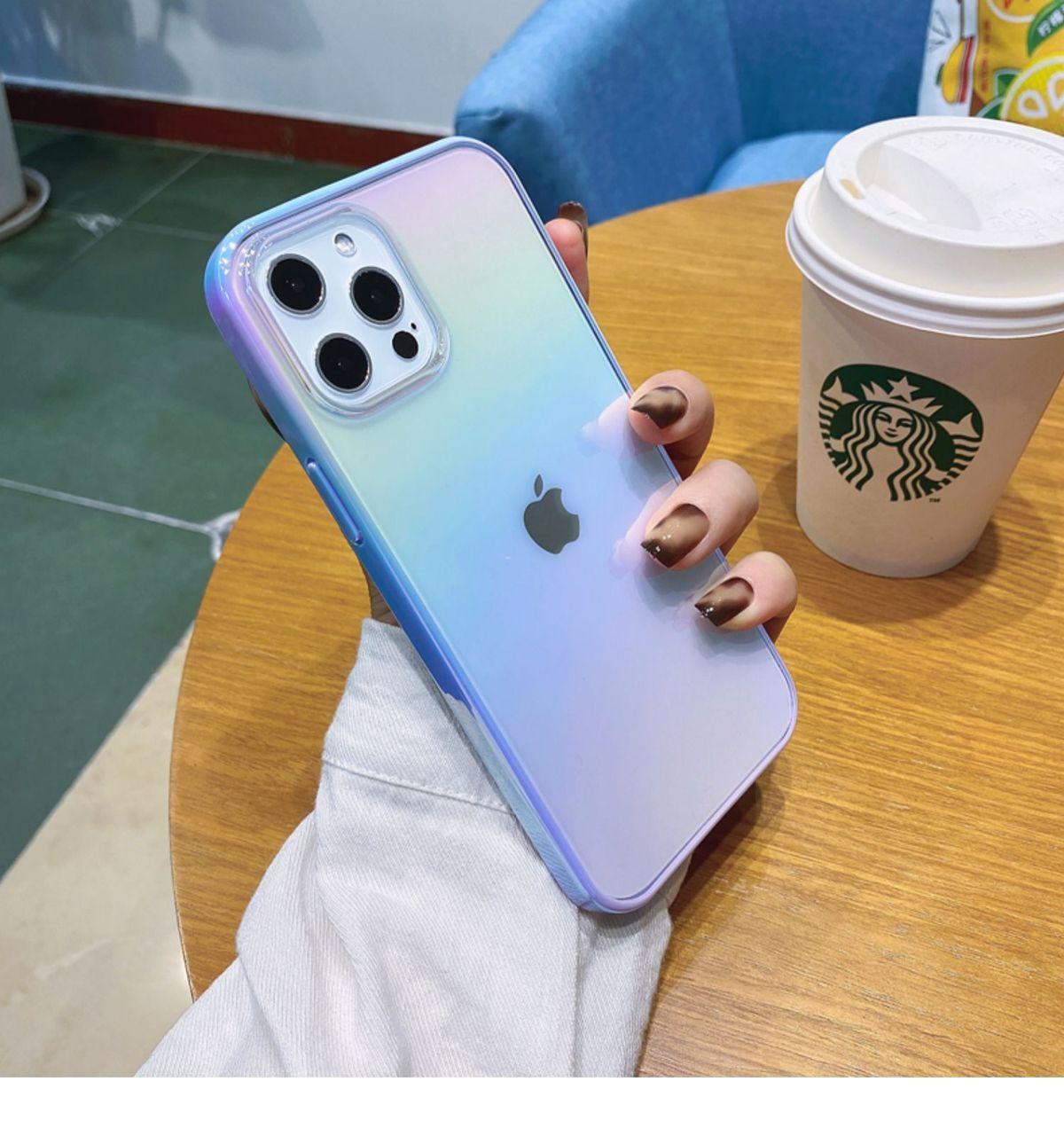 夏日紫色夢幻漸變iPhone12手機殼半透蘋果12Pro Max防摔xs/xr男女