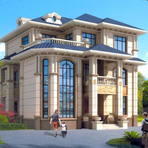 12.6x 14.5米三层复式别墅旋转楼梯别墅施工图纸