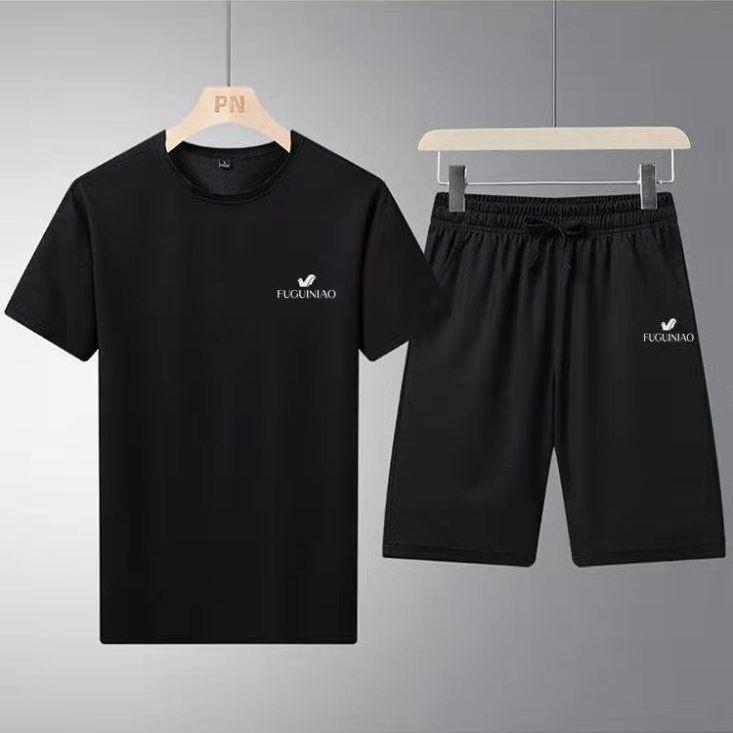富贵鸟夏运动套装男薄款透气休闲t恤短裤五分裤韩版大码宽松套装