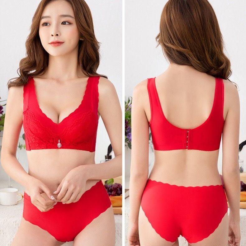 黛安芬文胸套装无钢圈小胸聚拢性感无痕背心式大红色本命年内衣女