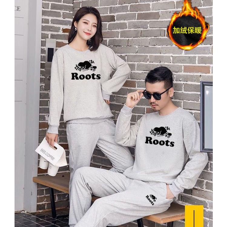 88926-国潮Roots加绒套装两件套休闲运动装男女同款大码宽松卫衣套装潮-详情图