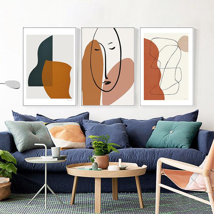 北欧风格挂画,客厅背景墙画,小清新抽象
