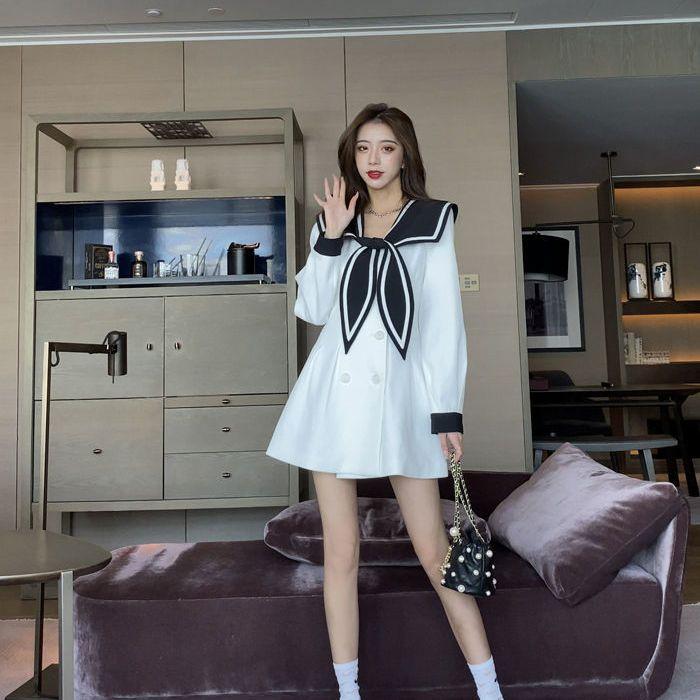 热卖新款海军领连衣裙春装2021年新款韩版宽松女收腰显瘦气质洋气