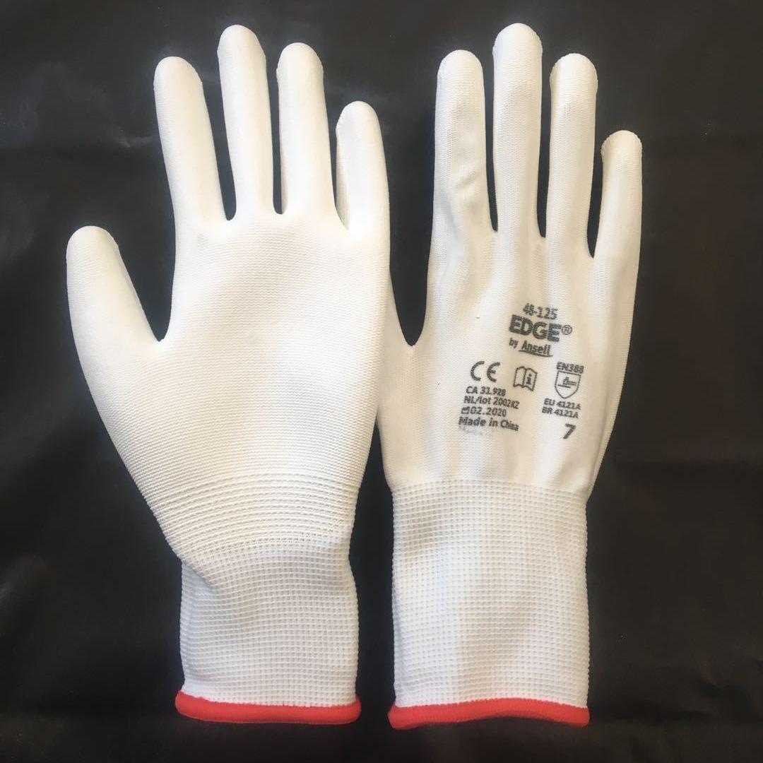 12双包邮薄款白色尼龙U涂掌手套浸胶涂胶带胶透气防静电劳保手套