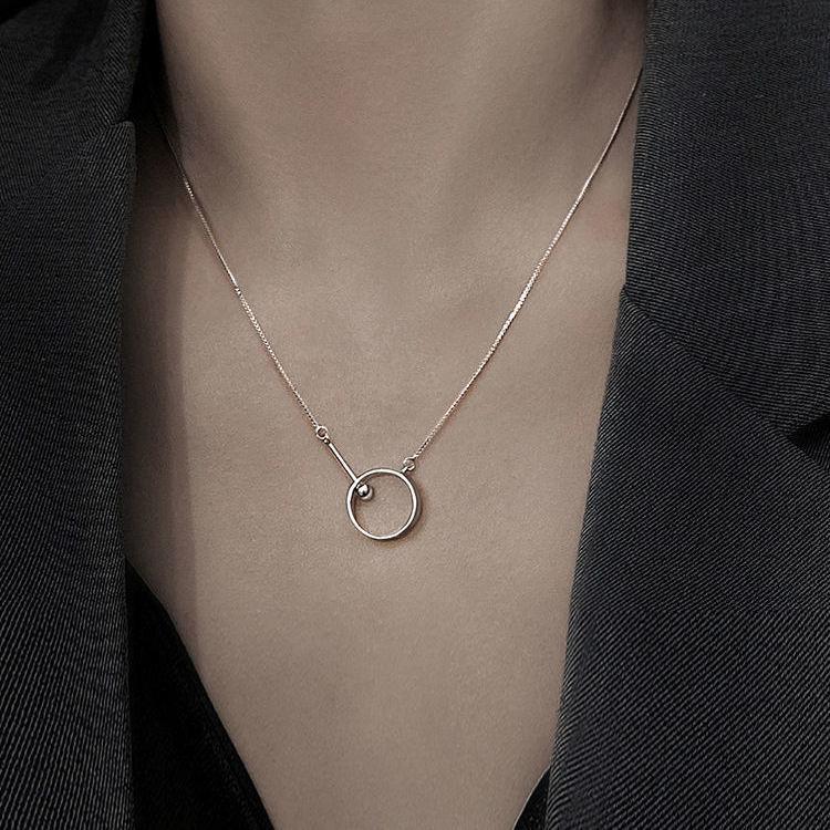 圆环圆珠项链女轻奢高级锁骨链简约气质